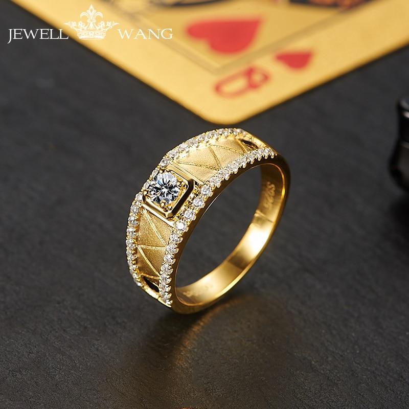Jewellwang 18K Yellow Gold Rings for Men Moissanites 0.3ct Original Poker Design Diamond Side Stone Certified vvs1 Classic