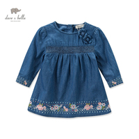 DB3661 Dave Bella Autumn Fall Baby Girl Embroidery Princess Dress Baby Denim Dress Kids Birthday Clothes