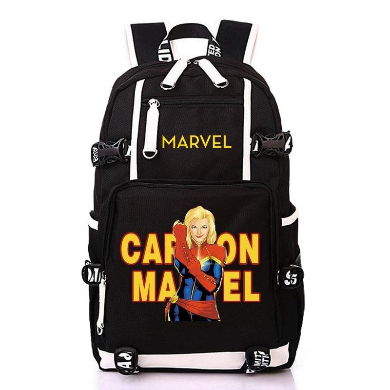 Bande dessinée Marvel Captain Marvel Super Hero Film Sac À Dos Étudiant sacs d'écolier pour Hommes Femme Sac À Dos Mochila Sac À Dos