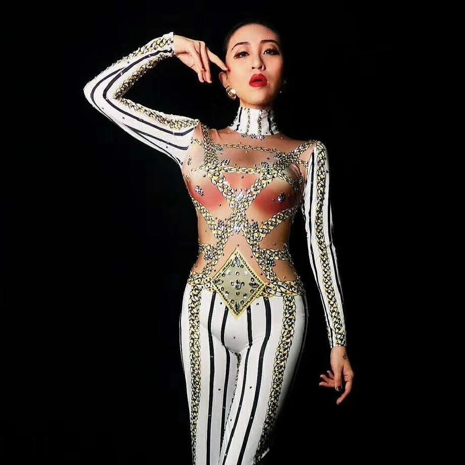 Striped Straight Jumpsuit Female Singer Sexy Leggings Jazz Costume One piece Bodysuit Stretch Outfit Party Rompers  DJ255-in Chinese Folk Dance from Novelty & Special Use    3