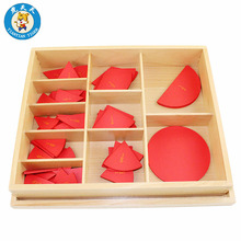 Montessori Mathematics Learning Early Childhood Educational Wood Toys Cut-Out Labeled Fraction Circles (1-10)