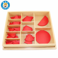 Montessori Mathematics Learning Early Childhood Educational Wood Toys Cut Out Labeled Fraction Circles (1 10)