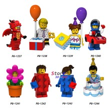 Single Fire Dragon Balloon boy Balloon girl Racing man Flowerpot girl Cake boy building blocks models bricks toys for children(China)
