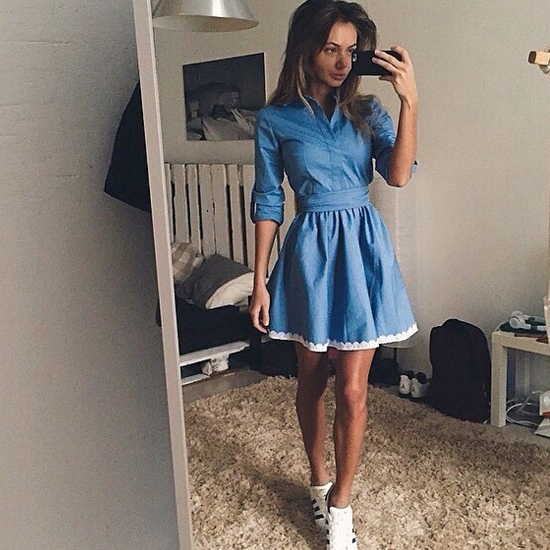 2019 Autumn Women <font><b>Jean</b></font> Long Sleeve Loose Denim Mini <font><b>Dress</b></font> <font><b>Sexy</b></font> Vestidos Casual Long Party <font><b>Dresses</b></font> <font><b>Dresses</b></font> image