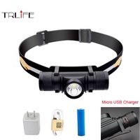 USB Led Headlamp CREE XML L2 Headlight Flashlight Head Torch Head Light Waterproof 18650 Rechargeable Battery