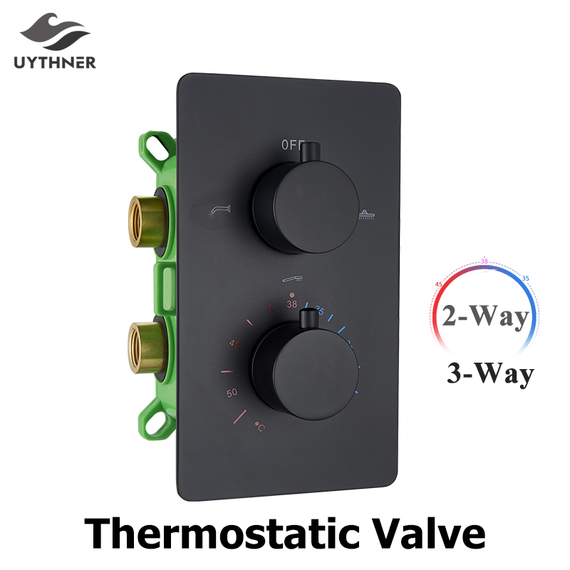 Matte Black 2 Ways/3 Ways Thermostatic Valve Mixer Bathroom Shower Faucet Accessory Water Temperature Concealed Control Diverter-in Faucet Cartridges from Home Improvement    1