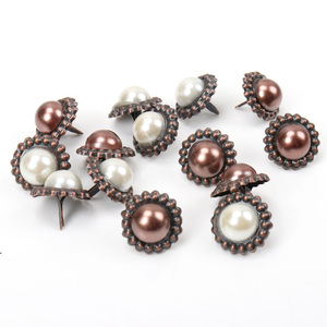 20Pcs Artificial Pearl Sunflower Round Brads Fastener Embellishment Studs Spikes For Clothes Metal Brads Crafts DIY 16mm MZ232-6