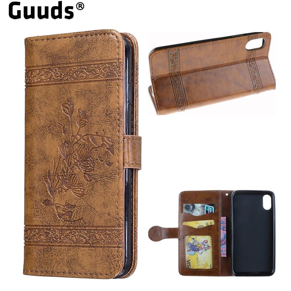 Guuds for iPhoneX Ten 10 Cover Coque Luxury Retro Oil Wax Embossed PU Leather Wallet Case for iPhone X(5.8 inch) FREE SHIPPING