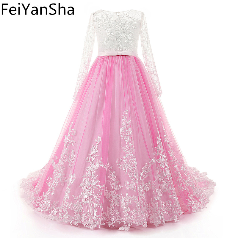 FeiYanSha New Flower Girl Dress Long Sleeves O Neck Girls Pageant Gowns Holy Lace Communion Dresses For Girls Birthday Party Dre cute pink lace flower girl dresses sheer sleeves appliqued baby girl dress tiered toddler pageant birthday dress for party gowns