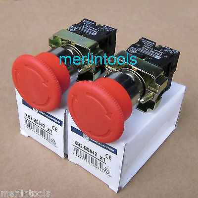 2Pcs Red Sign Emergency Stop Push Button 600V Switch