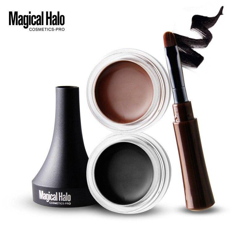 Makeup Waterproof Lock Color Cream Eyebrow Gel Pencil 2 Colors Eyebrow Tint Brown 3D Natural Eyebrow Pen with Brush