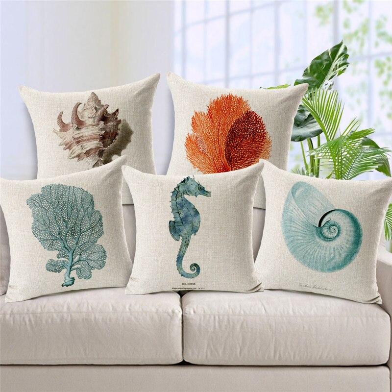 Marine Life Coral Conch Hippocampus Print Cushion Cover Cojines Sofa tropical Throw Pillow Printed Cotton Linen Square Fundas