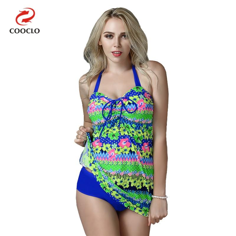 COOCLO New Plus Size Women Swimwear Floral Print Women's Beachwear Two Pieces Tankini Swimsuit Large Cup Bathing Suits XXL-6XL