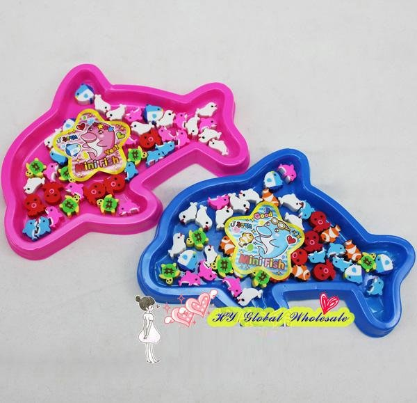 40pcs/set Freeshipping!New Marine Animal Eraser With Gift Box Mini Fish Eraser Office&Study Cartoon Rubber Kids Gifts