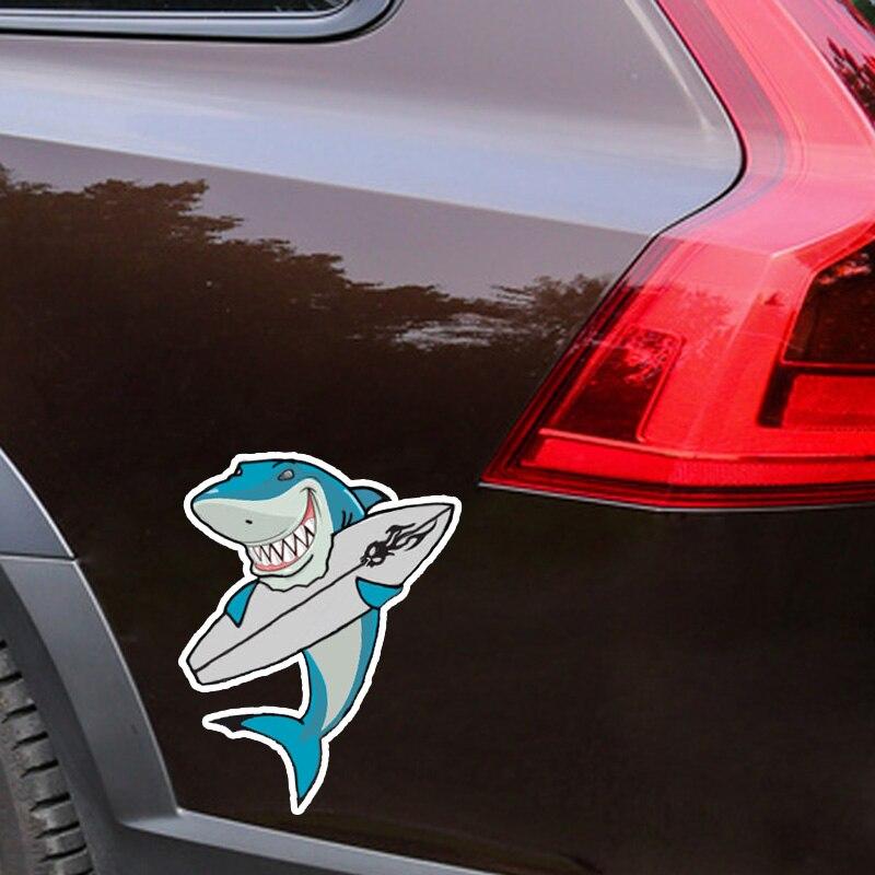 Yjzt 12 2 15 1cm Mode Belle Planche De Surf Dessin Anime Requin Couleur Pvc Voiture Autocollant Graphique Decoration C1 5380 Aliexpress