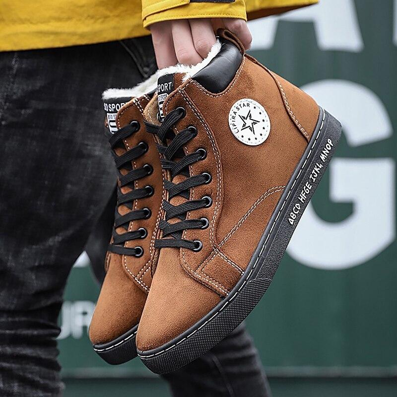 Botas de neve quentes homens sapatos de inverno baratos camurça de couro sólido curto de pelúcia tornozelo botas masculinas botas hombre