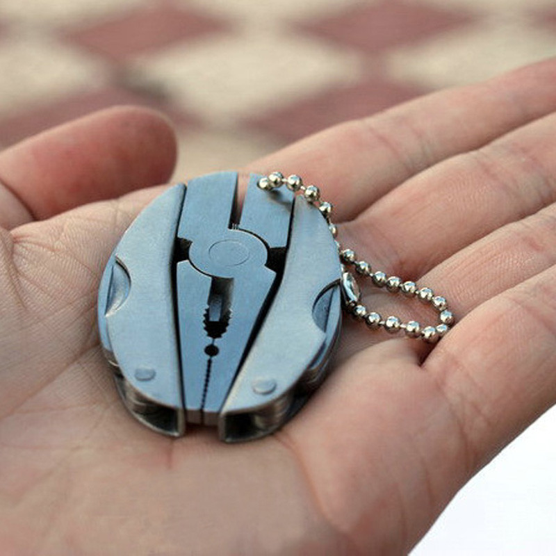 Pince pliante multifonction Portable couteau pliable en acier inoxydable porte-clés tournevis Camping survie EDC outils Kits de voyage