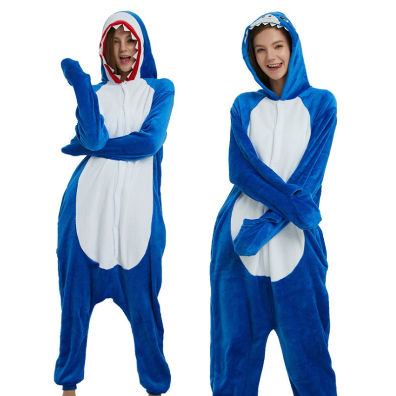 Adult Pyjamas Cosplay Costume Blue Shark Onesie Lemur Sleepwear Homewear Unisex Pajamas Party Clothing For Women Man Dropship