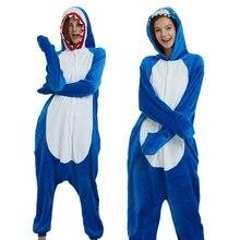 Adult Pyjamas Cosplay Costume Blue Shark Onesie Lemur Sleepwear Homewear Unisex Pajamas Party Clothing For Women Man Dropship