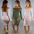 Высокое качество нового 2016 платье повязки полный рукав клуб платье сексуальные женщины одеваются