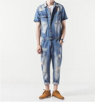 Male personality hole denim ankle length trousers set personalized vintage jumpsuit overalls