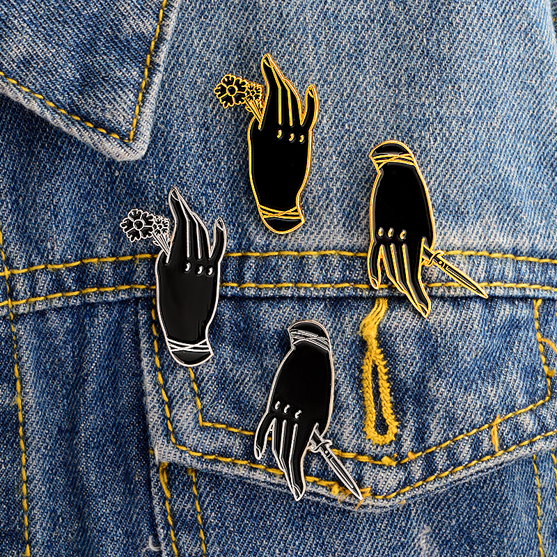 1-4 Pcs Punk Dark Hand Brooch Gold Silver Enamel Pins Backpack Denim Jacket Shirt Coat Lapel Pin Button Badge Jewelry Gift