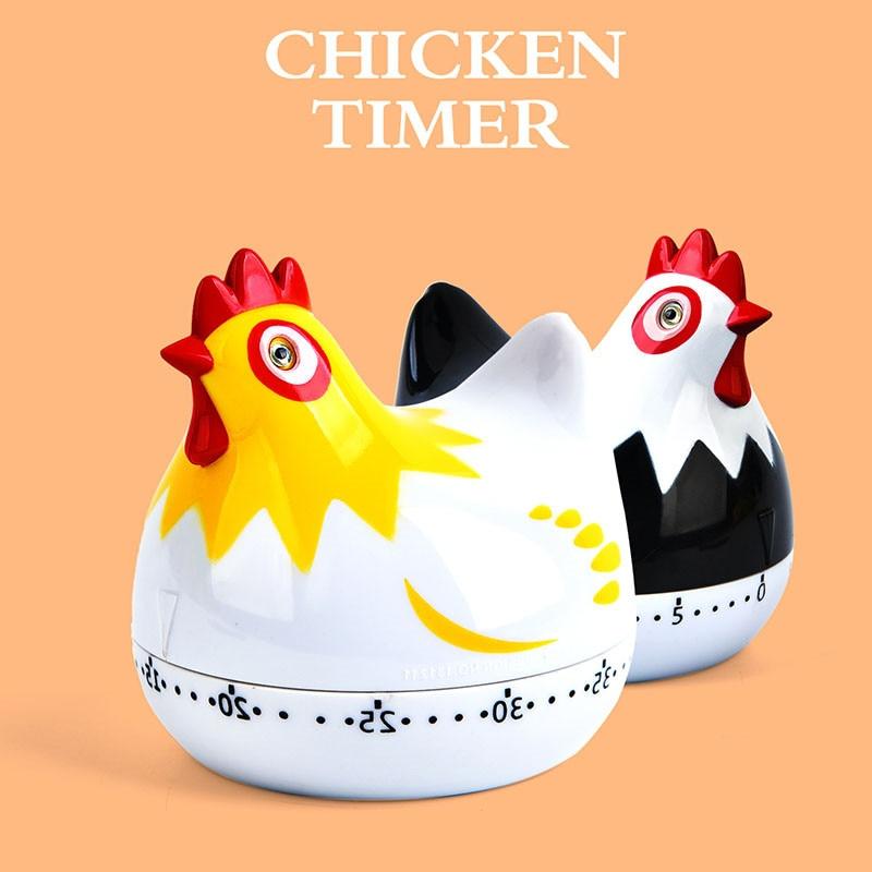 Cute Chicken Kitchen Timers Cooking Digital Timer Cartoon Plastic Cooking Hours Mechanical Timer 60 Minutes Digital Timer Tool in Kitchen Timers from Home Garden