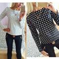 Women fashion 2016 new round collar camisa dot chiffon wave point long-sleeved shirt clothes