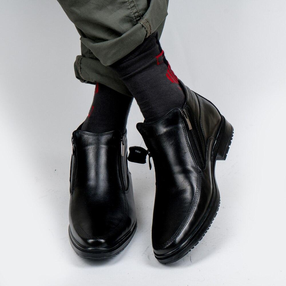 Мужские ботинки из натуральной кожи и мехом из овчины