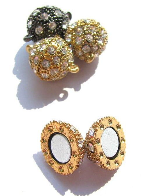 En gros ton Rhinetone cristal magique fermoir connecteurs fermoirs magnétiques boule ronde gunmetal argent rose or bijoux fermoir 50 pcs - 5