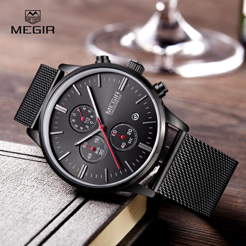 Prix pour Megir mode hommes d'affaires en acier inoxydable bande montres à quartz avec calendrier chronographe lumineux analogique montre-bracelet homme 2011