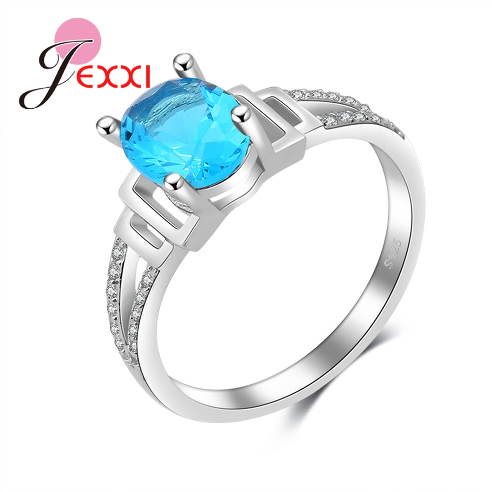 JEXXI Brand Finger Rings Ladies Pretty Decoration 925 Sterling Silver Rings Hollow Oval Lake Green Cubic Zircon Women Wed