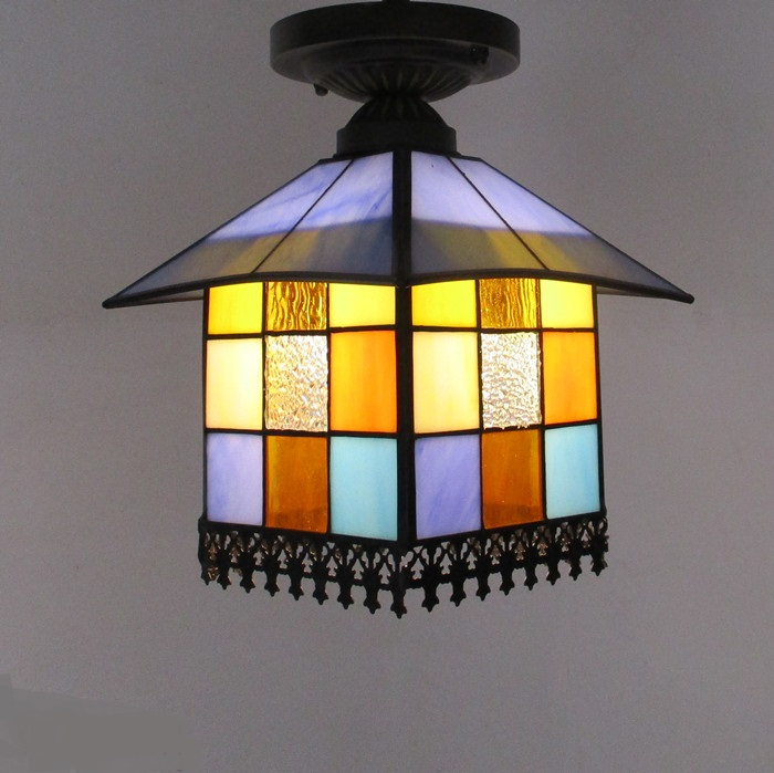 Tiffany small corridor ceiling lamps balcony lamp lights door color bar Mediterranean boutique stair lamp porch Ceiling lights loft style metal cage ceiling lights hotel corridor creative ceiling lamps restaurant aisle balcony kitchen for home lighting