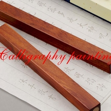 Sandal Paperweights Calligraphy-Sumi-E-Tool Ink-Brush Painting Inlay Wood-Copper A-Pair