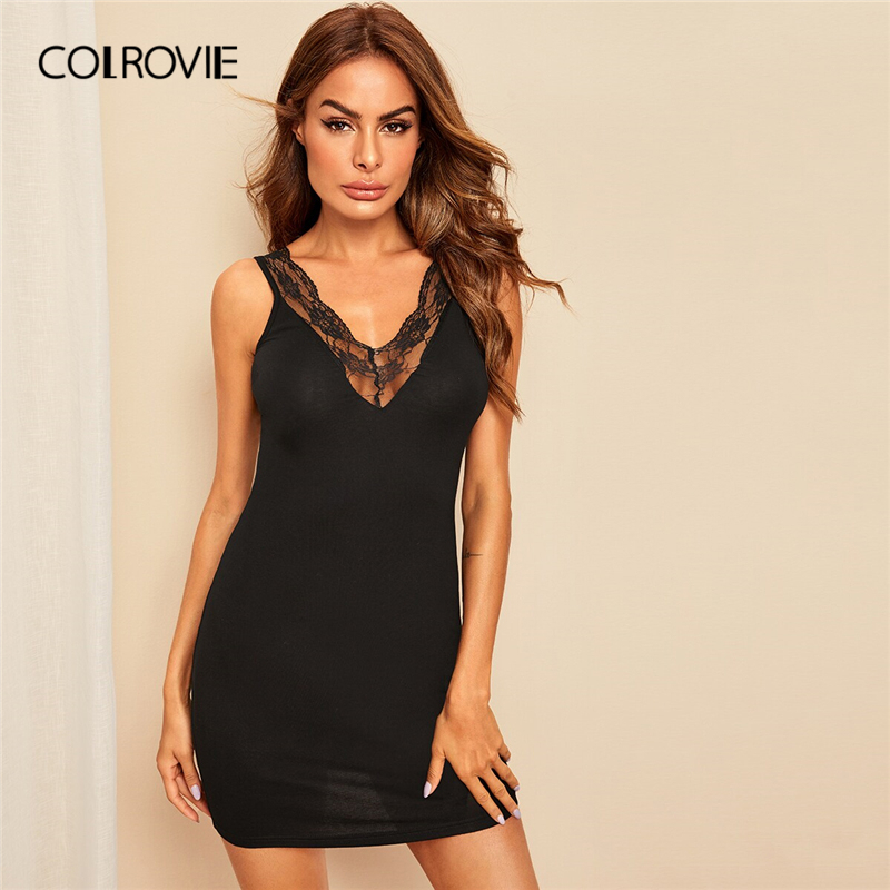 COLROVIE Black Solid Lace Insert V-back Fitted Bodycon Sexy Night Dress 2019 Summer Sleeveless Stretchy Sleepwear Nightgown