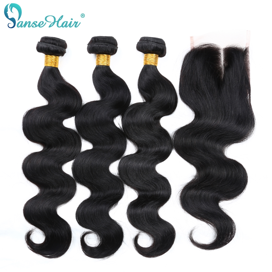 Panse Hair Brazilian Body Wave 100% Human Hair 3 Bundles With Closure 4X4 Non Remy Hair Customized 8 To 28 Inches Mixed Length