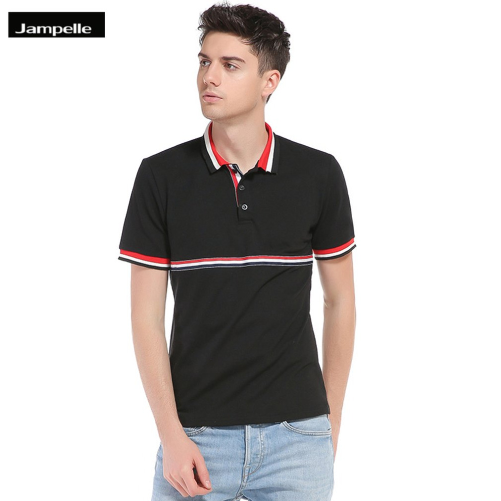 2015 new real camisa solid polo shirt mens fashion cool design short - Jampelle B86 Trendy Simple Lapel Collar Short Sleeved Spell Color Small Strip Polo Shirt Design Men