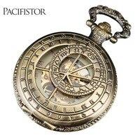 INFANTRY Pocket Watch Mechanical Full Metal Alchemist Skeleton Pocket Watches Men Steampunk Top Brand Antique Bronze Chain 2018