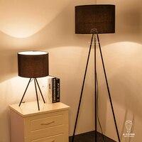 Modern Minimalist Cloth Cover LED Desk Lamp Iron Three Feet Reading Lamp Living Room Bedroom Bedside