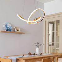 Modern Simple Electroplated Golden Aluminum Silicone Chandelier Scandinavian Creative Mobius Ring Design Restaurant Decor Light