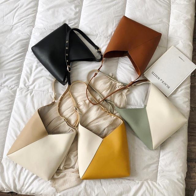 Splicing Contrast Bucket Shoulder Bag  3