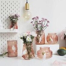 INS Creative Bohemian crystal vase Champagne red mini vase Hydroponic for Flower Arrangement Glass Vase Home Wedding Decoration цены