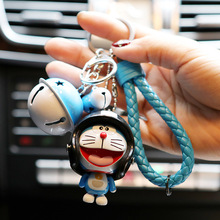 Cartoon Multiple Expressions Helmet Doraemon Keychain Women Leather Trinket Metal Key Chains Car Bag Pendent Charm