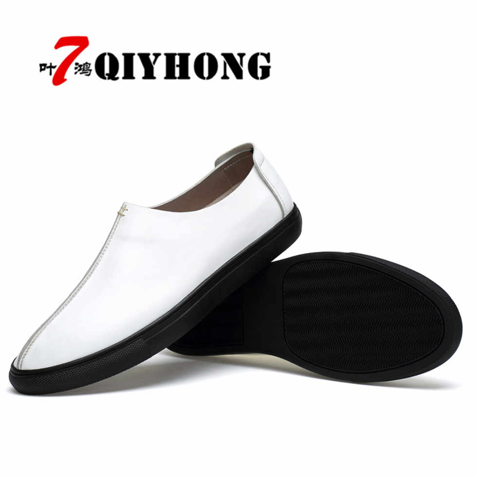 QIYHONG Breathable Soft Genuine Leather Flats Loafers Men Shoes Casual Luxury Fashion Slip On Driving Designer Zapatos Hombre hot fashion casual men leather shoes loafers flat shoes for male genuine leather breathable men flats lace up moccasin zapatos