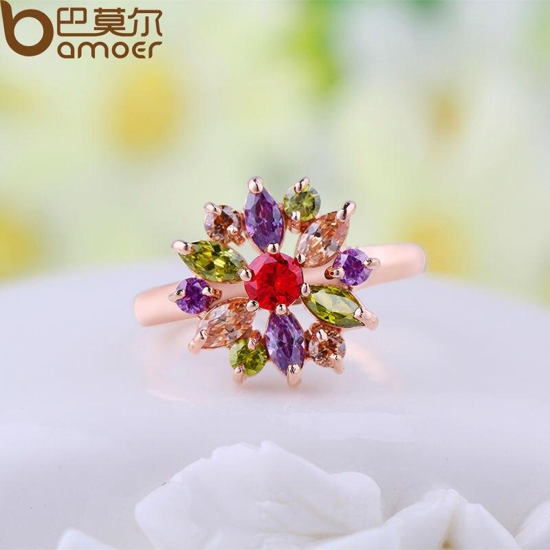 BAMOER 3 värvi roosa kulla värvi sõrmust sõrmus, AAA - Mood ehteid - Foto 4