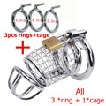 steel chastity cage stainless steel mens chastity belt men Include 3 penis ring stainless steel cock cage,Prevent masturbator