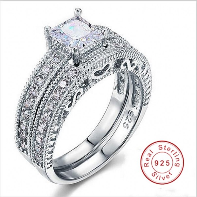 Antique Style Engagement 925 silver Filled ple rings Princess cut 5A Zircon Birthstone Wedding Band Ring set gift