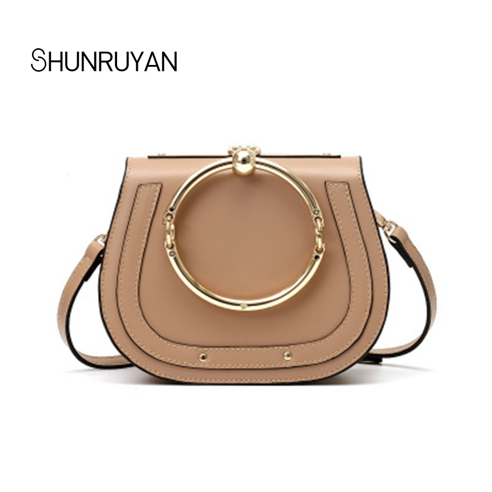 SHUNRUYAN 2019 Brand Design New Fashion Ladies Casual Saddle bag Women for bag Shoulder bag Metal Round Handbag Party bagsSHUNRUYAN 2019 Brand Design New Fashion Ladies Casual Saddle bag Women for bag Shoulder bag Metal Round Handbag Party bags