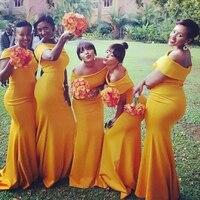 Simple Off Shoulder Mermaid Dress for Wedding Party vestido de festa longo Satin Yellow Bridesmaid Dress