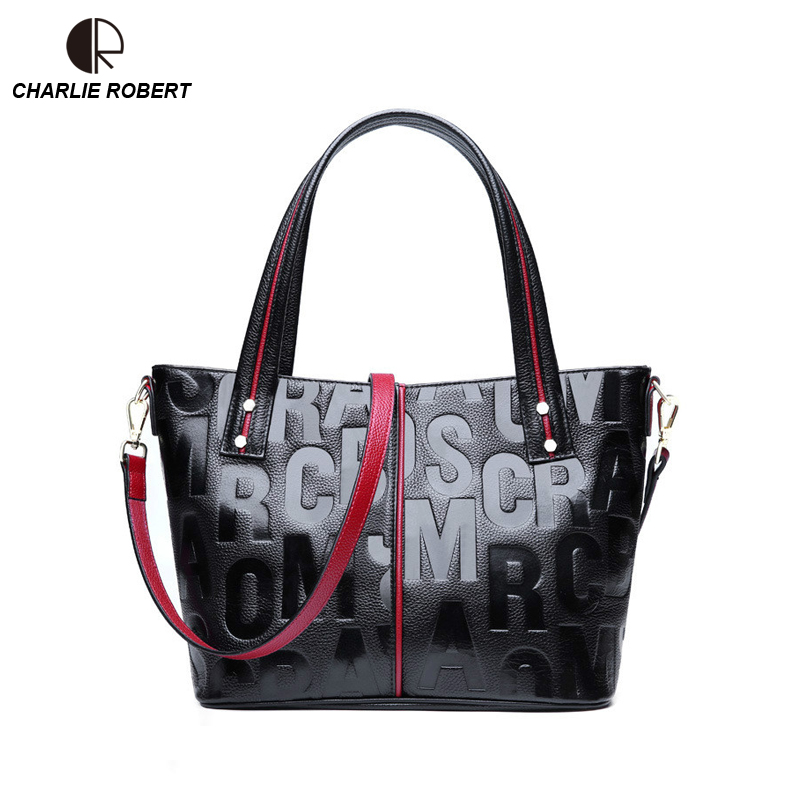 2019 New Women Lady Cow Leather Shoulder Bags Genuine Leather Vintage Solid Two Styles Casual Tote Fashion Letter Bags
